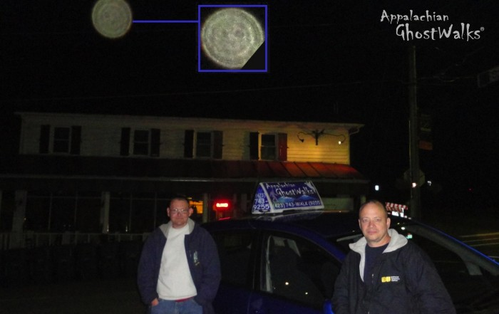 Mysterious orb photographed during a recent ghost walk. Photo provided by Appalachian Ghost Walks.