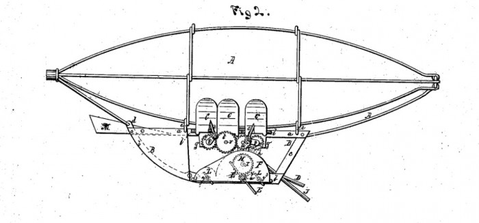 "Image from Dyer's 1874 patent for his ""Apparatus for navigating the air."""