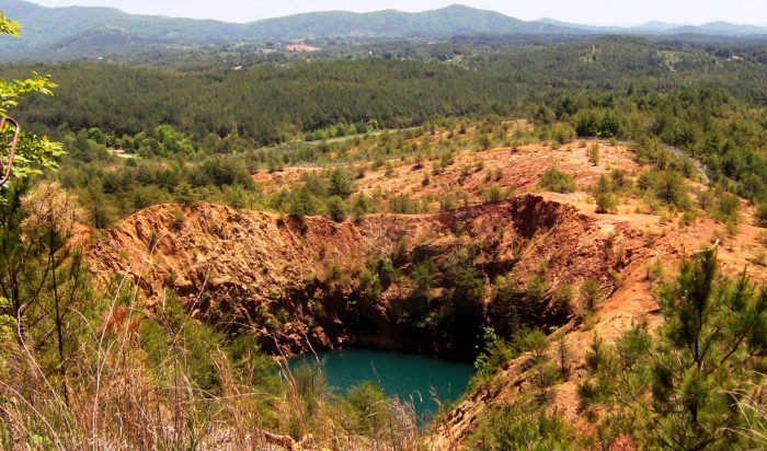 Collapsed copper mine and struggling landscape in Tennessee's Copper Basin. Photo by Brian Stansberry.