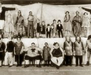 A 1929 Ringling Brothers & Barnum-Bailey sideshow photo showed the Muse brothers (front row, slightly to the right) along with other performers who found both refuge and exploitation in the circus. (Edward J. Kelty photograph courtesy of the John and Mable Ringling Museum of Art, Tibbals Collection)